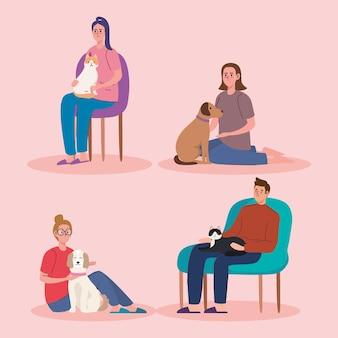 Четыре человека и домашние животные