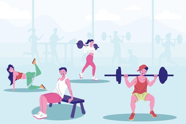 Four persons fitness practicing sports