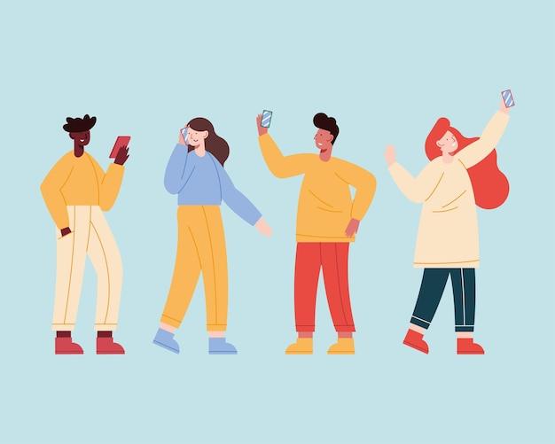 Четыре человека используют мобильные устройства