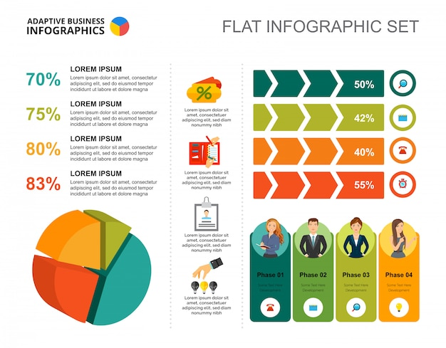 Four phases pie and percentage charts template for presentation
