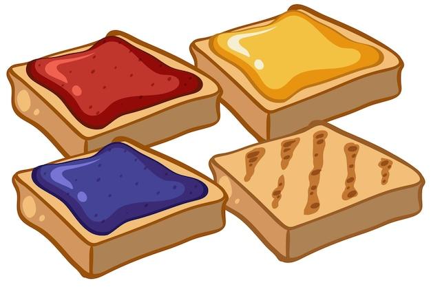 Quattro fette biscottate con marmellata
