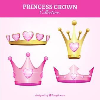 Four pink princess crowns