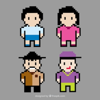 Four pixelated avatars