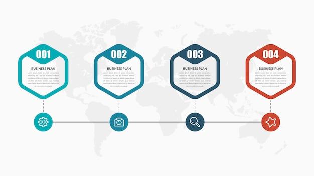 Четыре точки инфографики элемент бизнес-стратегии с иконами