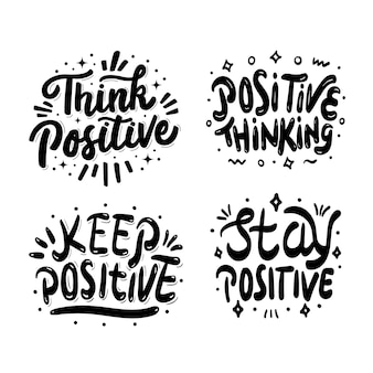4개의 긍정적인 글자 세트 삽화