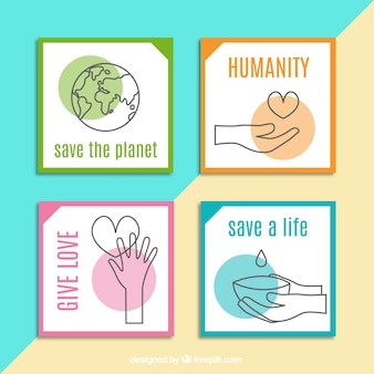 Four pretty cards about charity