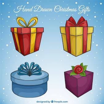 Four pretty hand drawn gifts