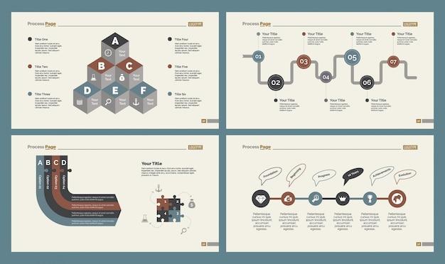 Four production slide templates set