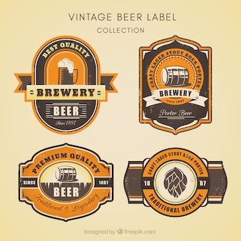 Four retro beer stickers