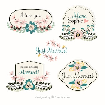 Four retro wedding tags with flowers