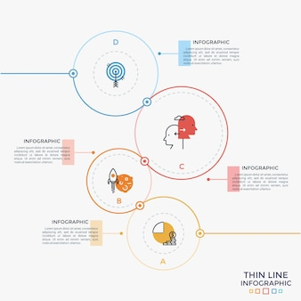 Four round elements of different color and size with thin line pictograms inside and text boxes. concept of 4 business options to choose. creative infographic design template. vector illustration.