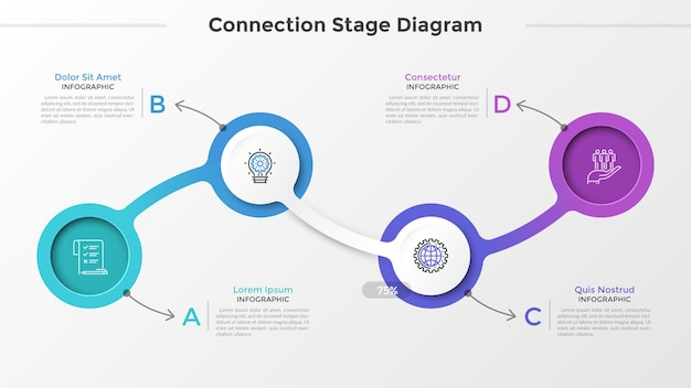 Four round elements or links with linear icons inside connected into chain, letters and text boxes. connection diagram with 4 stages. creative infographic design template. vector illustration.
