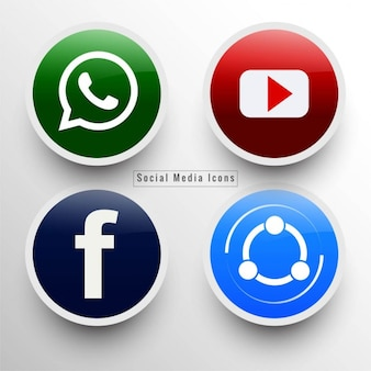 Four round icons, social networks