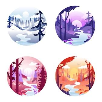 季節の風景と4つの丸いアイコン。冬、春、夏、秋の漫画イラスト。白い背景に設定された季節変更の概念。美しい自然を描いた構図。