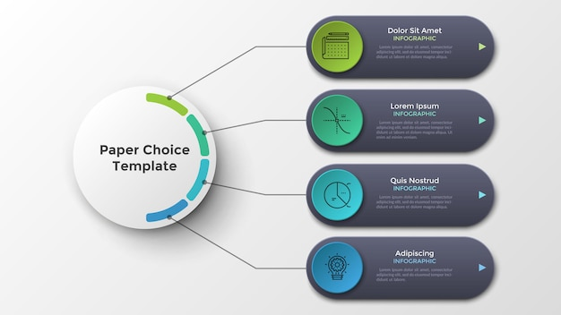 Четыре закругленных элемента соединены линиями с основным бумажным белым кружком. современный инфографический шаблон дизайна. реалистичная векторная иллюстрация для визуализации 4 функций или вариантов бизнес-проекта.