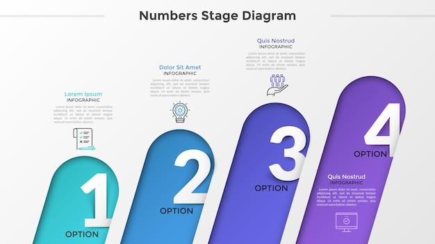 Четыре скругленных наклонных элемента с числами внутри помещены в горизонтальный ряд, линейные значки и текстовые поля. концепция 4 последовательных шагов развития. макет дизайна инфографики. векторная иллюстрация.