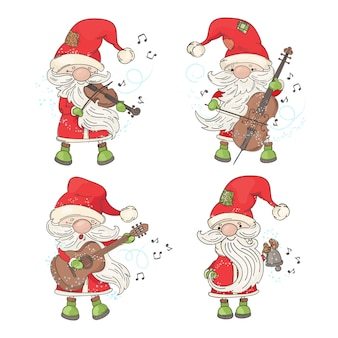 Четыре санта музыкант с рождеством