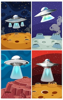 Four scene with ufo flying in the space