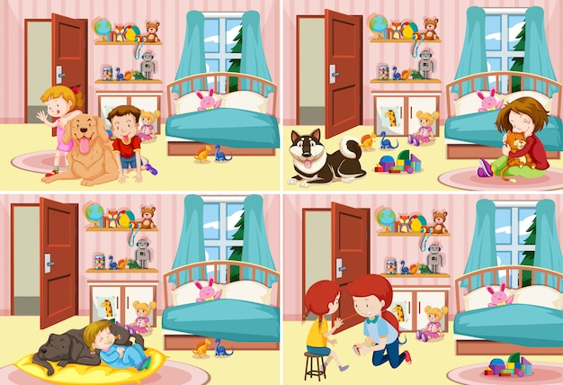 Four scenes of children in the bedroom