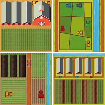 Four scenes of farmyard from top view