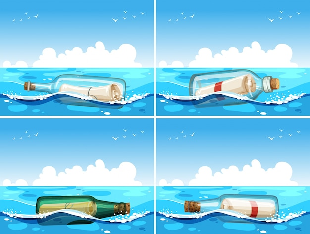 Four scenes of message in bottle