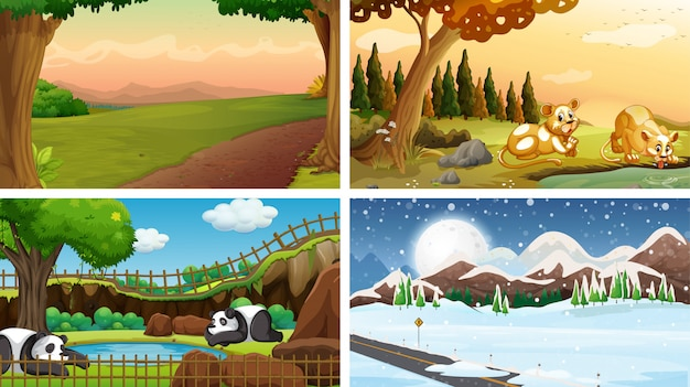 Four scenes of nature with many animals