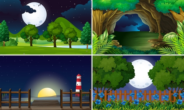 Four scenes at night time