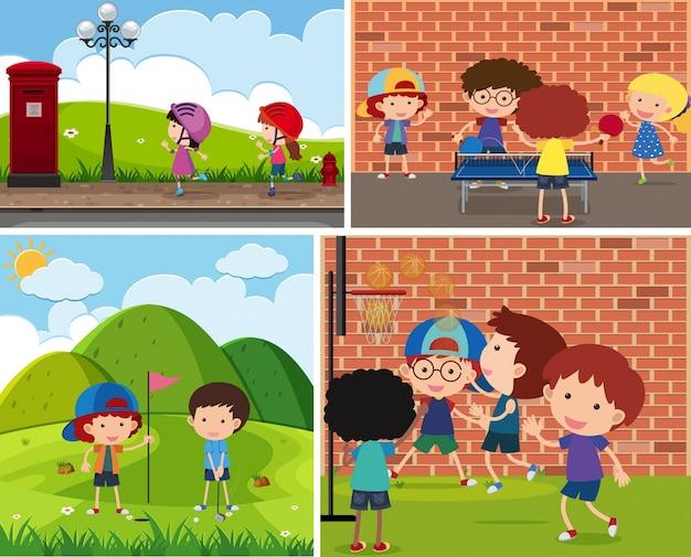 다른 스포츠를하는 어린이의 네 장면