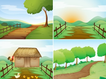 Four scenes of countryside with cabin and trails