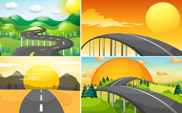 田舎への道の4つのシーン