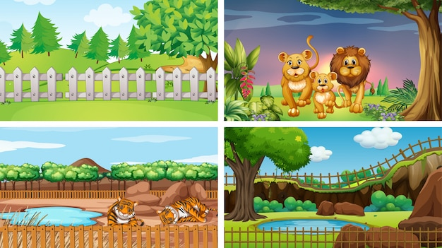 Four scenes of parks with animals