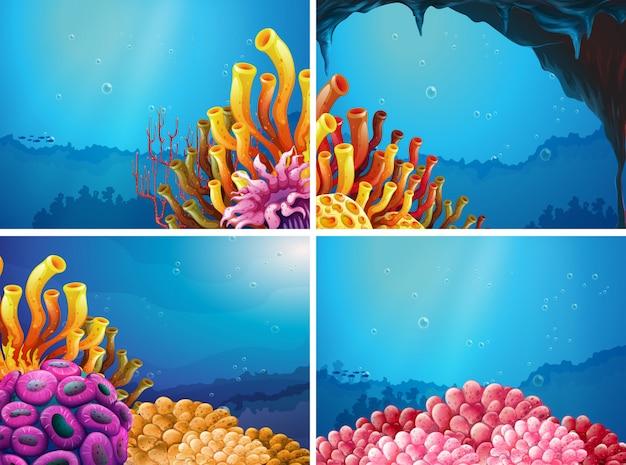 Четыре сцены под океаном Premium векторы