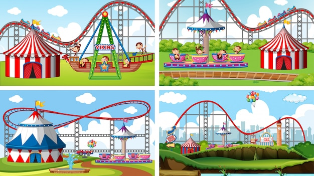 Four scenes with many rides in the fun fair