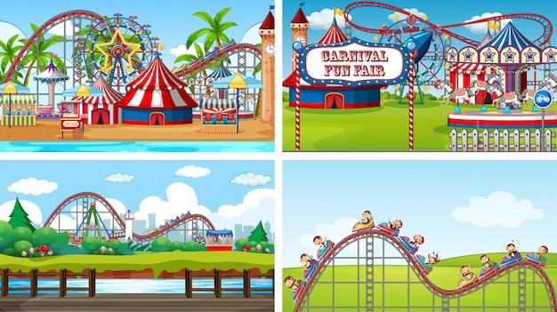 재미있는 박람회에 많은 놀이기구가있는 4 개의 장면