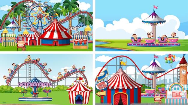 Четыре сцены с множеством аттракционов на ярмарке развлечений