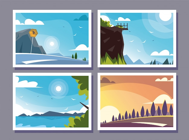 Four scenes with nature landscape and beautiful fields