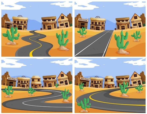 서부 마을의 도로와 네 장면