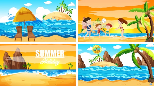 Four scenes with summer on the beach