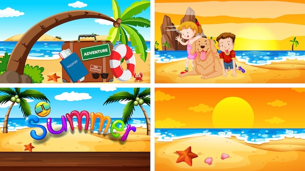 Four  scenes with summer theme