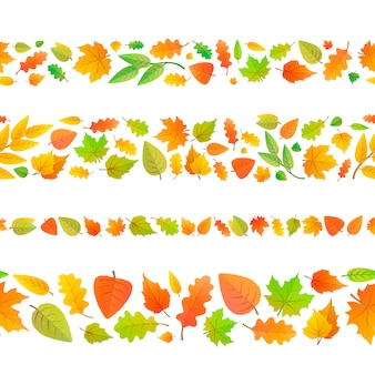 Four seamless borders made from cute autumn leaves