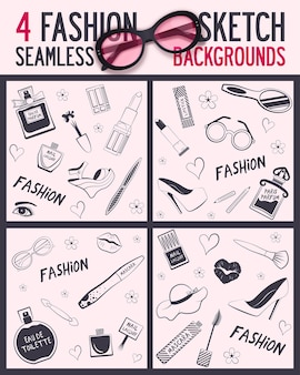 Four seamless pattern beauty and wellness items