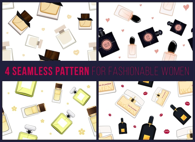 Four seamless pattern for fashionable women