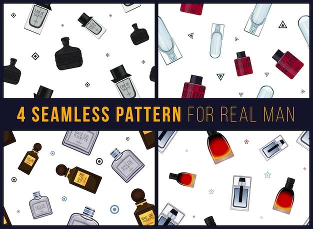 本物の男の香水のための4つのシームレスなパターン