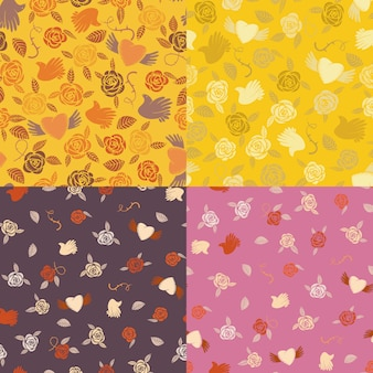 Four seamless patterns about romantic love