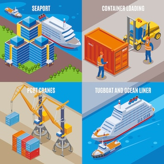 Four seaport isometric icon set with container loading port cranes tugboat and ocean liner descriptions  illustration