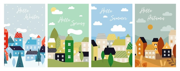 Four season cards. autumn winter spring summer with city landscape. seasonal poster, christmas time. country neighborhood, nature houses vector illustration. spring and autumn, winter and summer