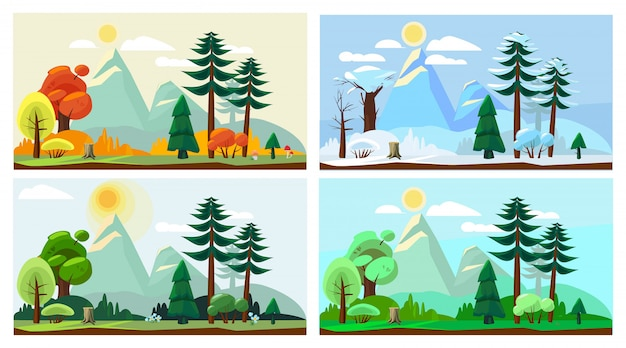 Four season landscape. spring autumn summer winter weather nature scenery vector cartoon