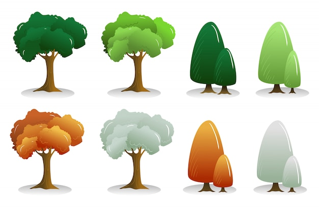 Four season tree cartoon vector collection