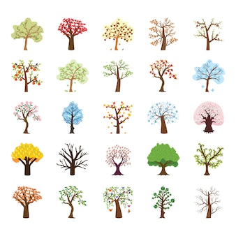 Four season tree flat vector icons set