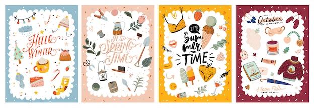 Четыре сезона фон. симпатичные баннеры с элементами зимы, весны, лета, осени и надписи. иллюстрации шаржа. новогодний праздник, озеленение, цветы, мороженое, уютные свитера, свеча.